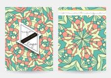 Style de vintage de couverture d'affaires Papier avec le modèle géométrique pour des affaires Photos libres de droits