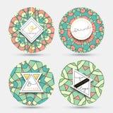 Style de vintage de kaléidoscope de mandala Mandala de grange avec un modèle géométrique Photographie stock