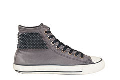 Style de vintage des chaussures grises d'espadrille de sport sur les WI blancs de fond Image libre de droits