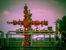 Style de vintage de tête de puits de gisement de gaz Photos libres de droits