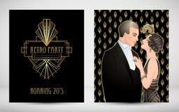Style des années 20 d'aileron Partie de vintage ou invitation thématique de mariage illustration libre de droits