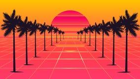Style des ann?es 1980 de palmiers illustration stock