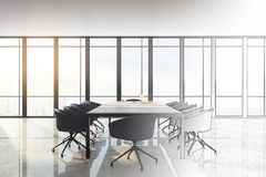 Style and design concept. Hand drawn meeting room interior with city view and furniture. Style and design concept. 3D Rendering royalty free illustration