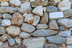 Style design decorative uneven cracked real stone wall surface Stock Images