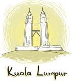 Style dessiné d'horizon de Kuala Lumpur à disposition illustration libre de droits