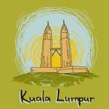 Style dessiné d'horizon de Kuala Lumpur à disposition illustration stock