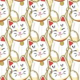 Style dessiné de Maneki Neko Pattern à disposition illustration libre de droits