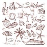 Style dessiné de thème d'heure d'été à disposition Le vecteur gribouille l'ensemble d'icône Photographie stock