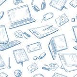 Style dessiné différent de dispositifs d'ordinateur à disposition Dirigez la configuration sans joint Photo libre de droits