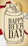Style dessiné en boîte de bière à disposition pour la célébration de jour de bière, illustration de vecteur illustration de vecteur