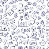 Style dessiné social différent d'icônes de media à disposition Modèle sans couture de vecteur sur le fond blanc Photo stock