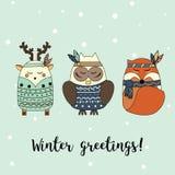 Style dessiné d'animaux de Boho à disposition Hiver, carte de voeux saisonnière, bannière, fond de vecteur Photo libre de droits