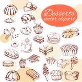 Style dessiné d'éléments de desserts de vecteur à disposition Nourriture délicieuse Illustration d'art Pâtisserie douce pour votr Photo stock