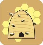 Style doux de bande dessinée d'abeille de miel d'abeilles d'abeille illustration de vecteur