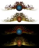 Style element vector. Accessary element stylish background with ornaments and stars Stock Illustration