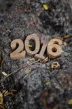 Style en bois de nombres de la bonne année 2016 Images libres de droits