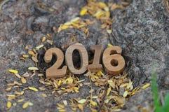Style en bois de nombres de la bonne année 2016 Image libre de droits