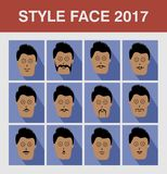 Style Face Man. Flat design avatar app icons set user face people man vector Royalty Free Stock Photos