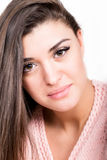 Style and fashion concept - happy young woman in pink sweater Stock Photos