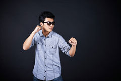 Style of fighting in the studio Royalty Free Stock Photography