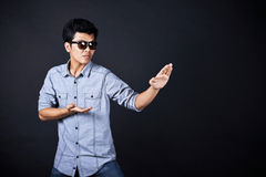 Style of fighting in the studio Stock Photography