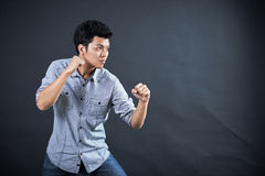 Style of fighting in the studio Royalty Free Stock Photo