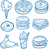 Style food various of doodles. Vector art Royalty Free Stock Image