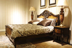 The style of French wooden bed Stock Image
