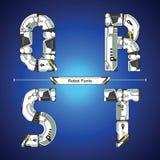 Style futuriste de technologie de robot d'alphabet dans un ensemble QRST illustration stock