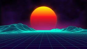 Style futuriste des années 1980 de paysage de rétro fond Rétro surface de cyber de paysage de Digital Rétro couverture d'album de illustration stock
