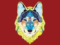 Style géométrique principal de loup Image stock