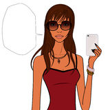 Style girl with cellphone Stock Photos