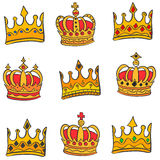 Style gold crown doodle set collection Stock Photography