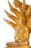 Style of Golden Buddha with a naga over head white backgroundg Stock Photo