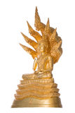Style of Golden Buddha with a naga over head white backgroundg Royalty Free Stock Images