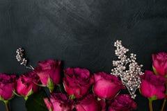 Style gothique de fond foncé de roses rouges de Bourgogne Image libre de droits