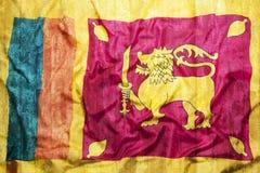 Style grunge de drapeau de Sri Lanka sur le mur de briques Images stock