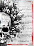 style grungy skull print retro background Stock Photo
