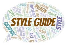 Style Guide word cloud. Wordcloud made with text only royalty free illustration