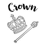 Style hand draw crown doodle Stock Images