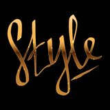Style - hand lettering with gold sparkling effect. Vector illustration stock illustration