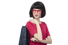 Style hipster girl with bag. Style hipster girl with bag Stock Images