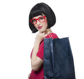 Style hipster girl with bag. Stock Images