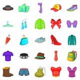 Style icons set, cartoon style Royalty Free Stock Images