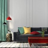 Style interior with dark blue sofa and a red table Royalty Free Stock Images