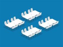 Style isométrique de banquet de configuration de disposition d'installation de lieu de réunion illustration de vecteur