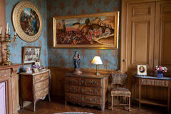 In style kept rooms in the castle of Montresor. Loire Valley, France stock images
