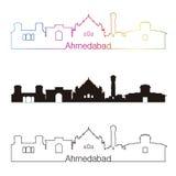 Style linéaire d'horizon d'Ahmedabad avec l'arc-en-ciel Illustration Stock