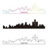 Style linéaire d'horizon de Detroit avec l'arc-en-ciel illustration stock