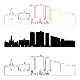 Style linéaire d'horizon de Fort Worth avec l'arc-en-ciel illustration stock